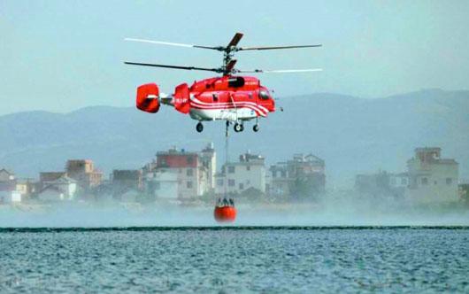 直升飞机共洒水47桶