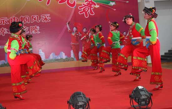 龙陵县三八节广场舞比赛剪影图片